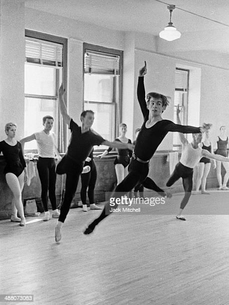 Rudolf Nureyev taking American Ballet Theatre class on January 24 1962