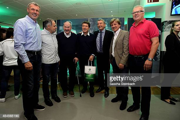 Rudolf Rudi Bommer Wolfgang Seel Matthias Matthes Mauritz Otto Rehhagel Wolfgang Niersbach Frank Mill and Manfred Bockenfeld are seen during the...