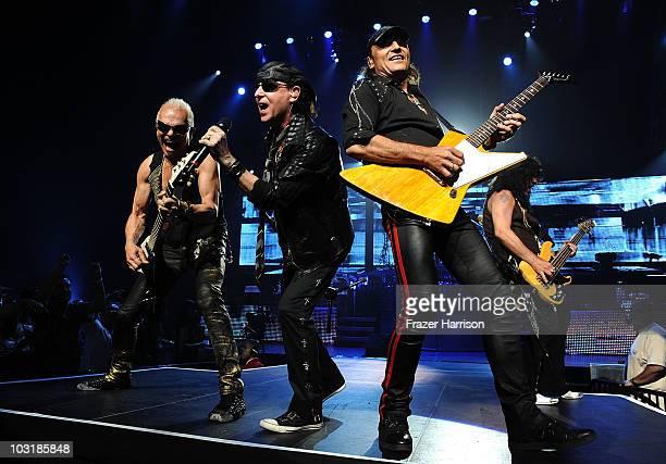 Rudolf Schenker Klaus Meine Matthias Jabs Pawel Macwoda of the Scorpions performs at The Nokia Theatre at LA Live on July 31 2010 in Los Angeles...