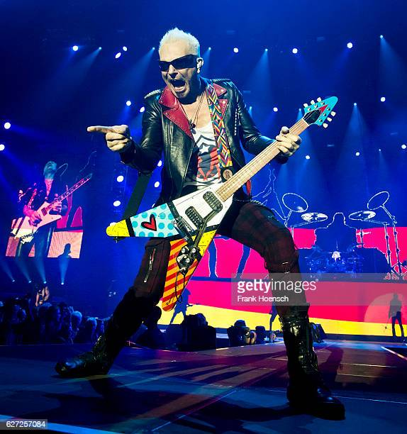 Rudolf Schenker of the German band Scorpions performs live during a concert at the MercedesBenz Arena on December 2 2016 in Berlin Germany
