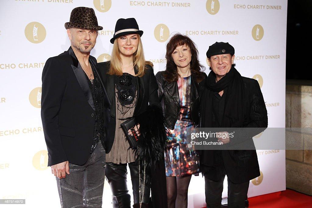 Rudolf Schenker, Tatjana Schenker, Kalus Meine and Gaby Meine attend the Echo Award 2015 Charity Dinner at Grill Royal on March 25, 2015 in Berlin, Germany.
