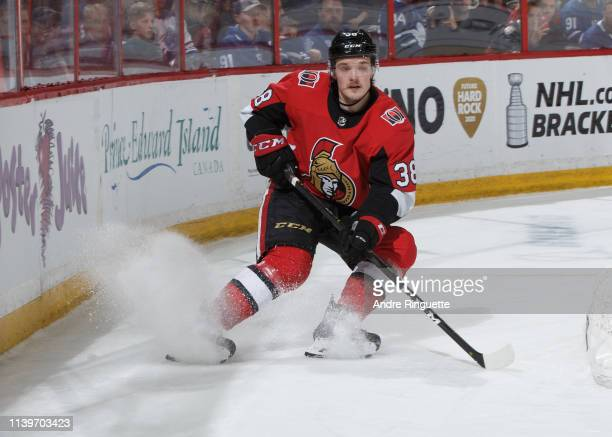 Rudolfs Balcers of the Ottawa Senators skates against the Toronto Maple Leafs at Canadian Tire Centre on March 30 2019 in Ottawa Ontario Canada
