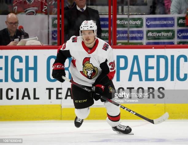 Rudolfs Balcers of the Ottawa Senators skates for position on the iice during an NHL game against the Carolina Hurricanes on January 18 2019 at PNC...