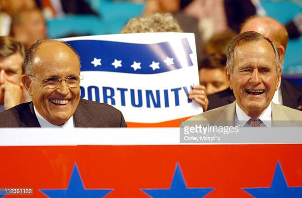 Rudolph Giuliani and George H W Bush during 2004 Republican National Convention Day 3 Inside at Madison Square Garden in New York City New York...