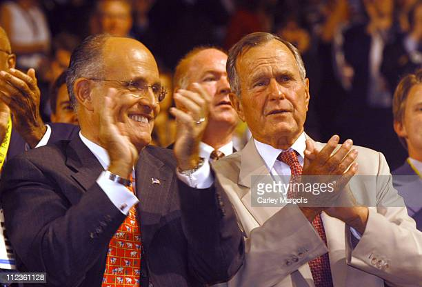 Rudolph Giuliani and George H. W. Bush during 2004 Republican National Convention - Day 3 - Inside at Madison Square Garden in New York City, New...