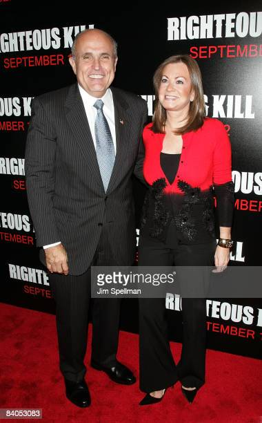 Rudolph Giuliani and Judith Nathan attend the New York premiere of 'Righteous Kill' at the Ziegfeld Theater on September 10 2008 in New York City