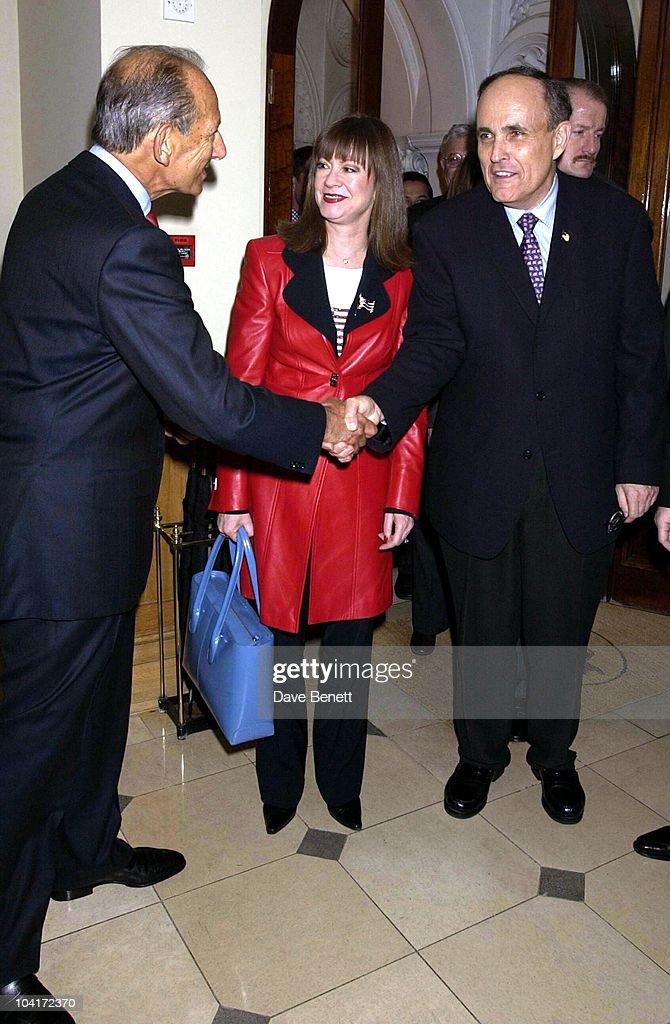 Rudolph Giuliani & Girlfriend Judith Nathan Meet The Chirman Of The St James Club, The Mayor Of New York Arrives At The St James Club In London Then Goes For A Walk In St James To The Avenue Restaurant, London