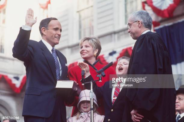 Rudolph Giuliani is sworn in as 107th Mayor of New York City 2nd January 1994 With Giuliani are his wife Donna and their children Andrew and Caroline