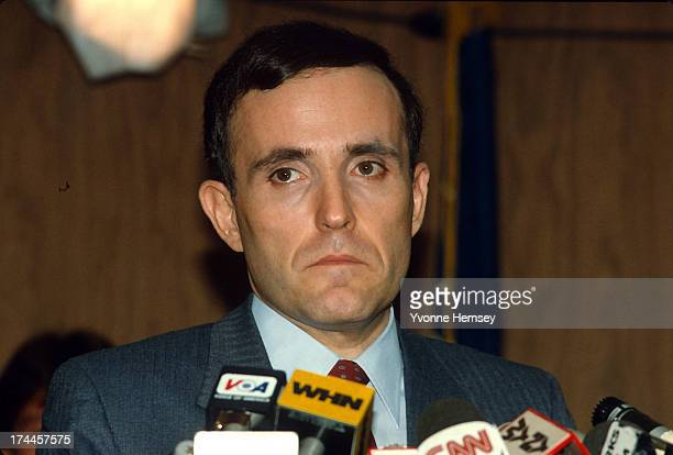 Rudolph Giuliani US Attorney for the Southern District of New York is photographed February 27 1985 announcing the arrests in the Commission case A...