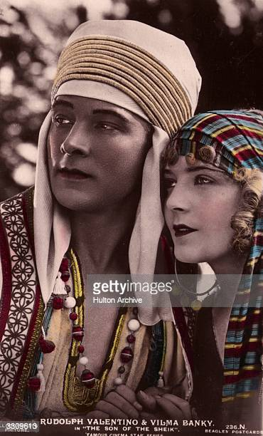 Rudolph Valentino and Vilma Banky in a handtinted still from the desert adventure 'Son of the Sheik' directed by George Fitzmaurice for United Artists