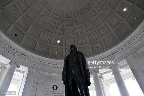 Rudulph Evans' Thomas Jefferson statue sits inside the rotunda of the Thomas Jefferson Memorial on April 10 2015 in Washington DC