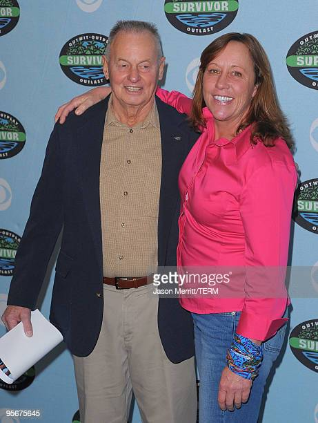 Rudy Boesch and Susan Hawk arrive at the CBS Survivor 10 Year Anniversary Party on January 9 2010 in Los Angeles California
