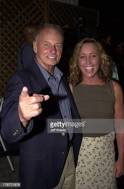 Rudy Boesch and Susan Hawk during Survivor finale party at Television City in Los Angeles California United States