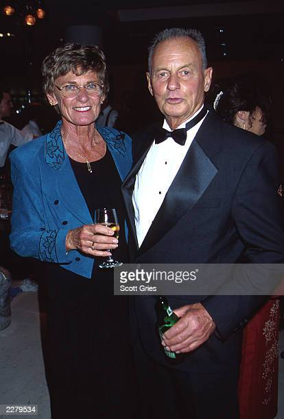 Rudy Boesch of 'Survivor I' with his wife at Emmy 2000 party in Los Angeles CA Sept 10 2000 Photo by Scott Gries/ImageDirect