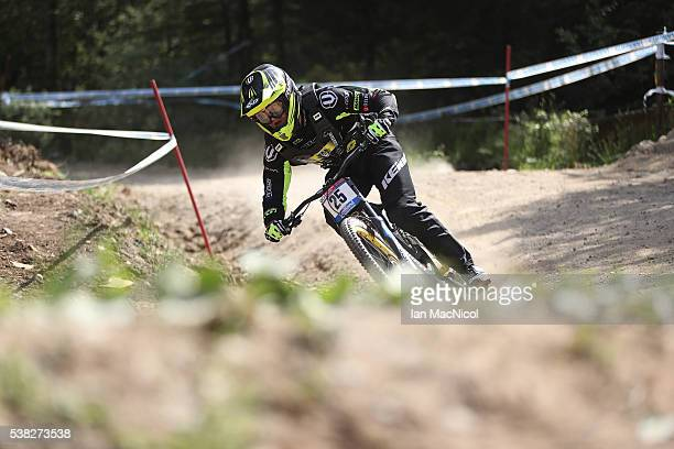 Rudy Cabiru of France competes in the Men's Downhill at the UCI Mountain Bike World Cup on June 5 2016 in Fort William Scotland