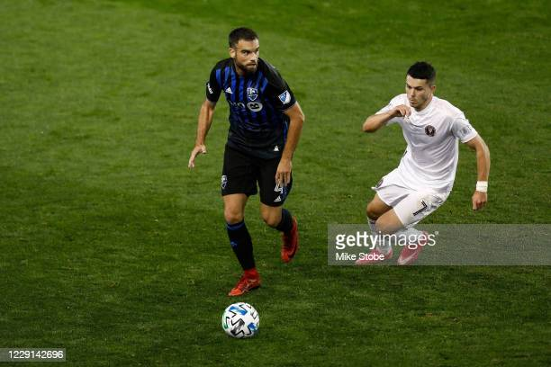 Rudy Camacho of Montreal Impact in action against Lewis Morgan of Inter Miami at Red Bull Arena on October 17, 2020 in Harrison, New Jersey. Montreal...