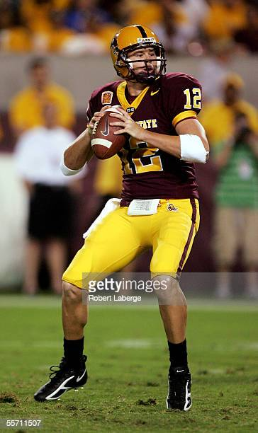 Rudy Carpenter and quarterback for the Arizona State Sun Devils prepares to make a pass during the fourth quarter of the game against the...