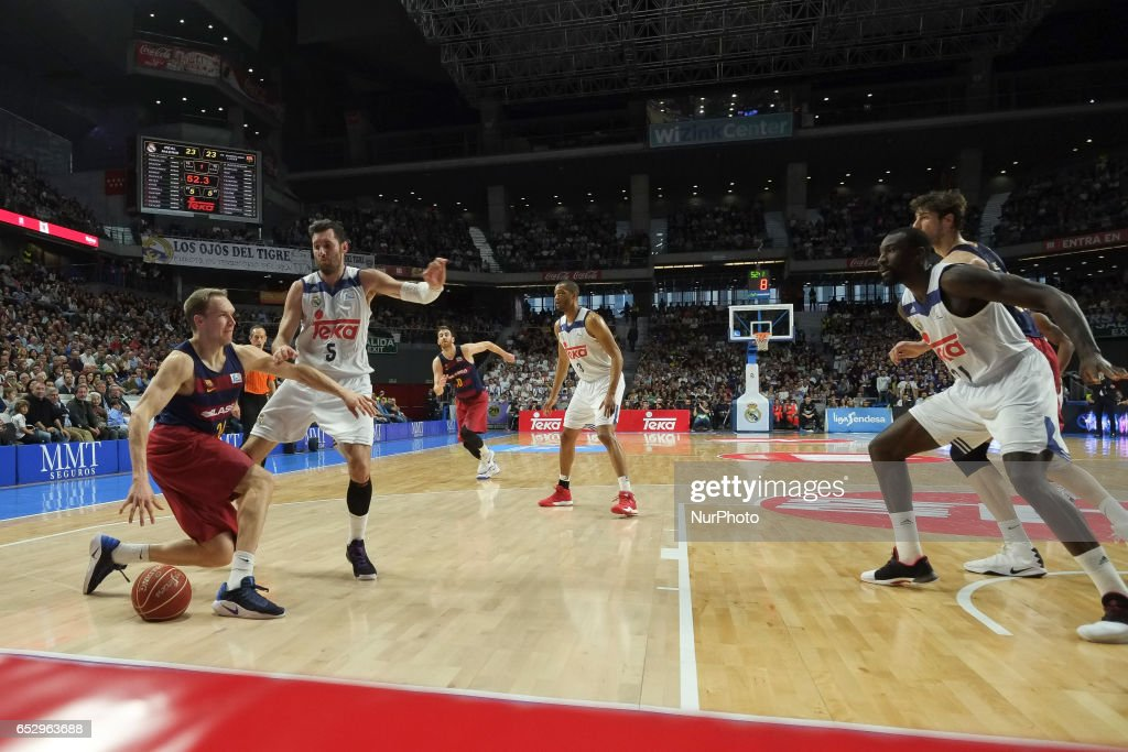 Rudy Fermandez of Real Madrid and Tyrese Rice, #2 guard of FC Barcelona during the Liga Endesa game between Real Madrid v FC Barcelona at Barclaycard Center on March 12, 2017 in Madrid, Spain.