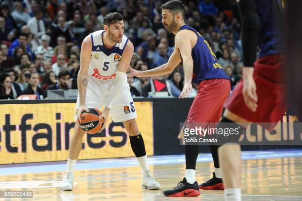 Rudy Fernandez #5 guard of Real Madrid and Juan Carlos Navarro #11 guard of FC Barcelona during the 2016/2017 Turkish Airlines Euroleague Regular...