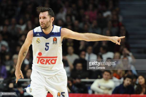 Rudy Fernandez #5 guard of Real Madrid during the 2016/2017 Turkish Airlines EuroLeague Regular Season Round 17 game between Real Madrid v Maccabi...