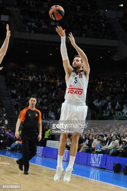 Rudy Fernandez #5 guard of Real Madrid during the 2016/2017 Turkish Airlines Euroleague Regular Season Round 23 game between Real Madrid and...