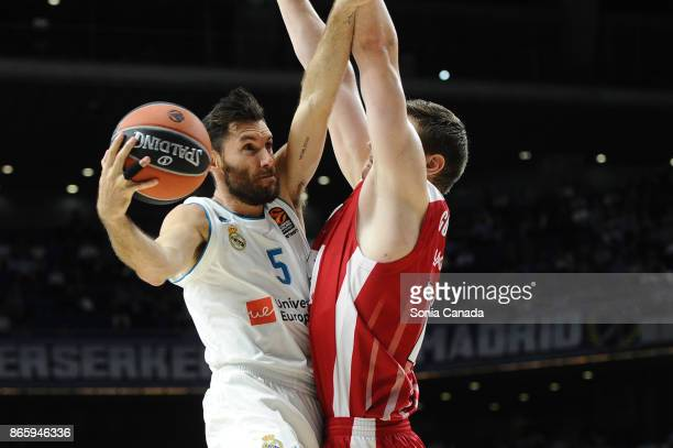 Rudy Fernandez #5 guard of Real Madrid during the 2017/2018 Turkish Airlines Euroleague Regular Season Round 3 game between Real Madrid v AX Armani...