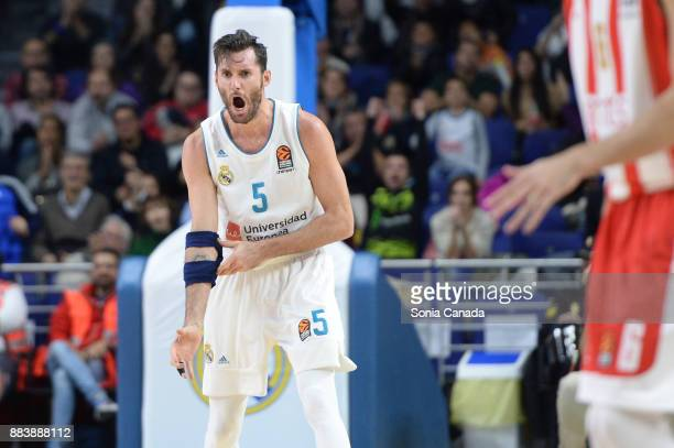 Rudy Fernandez #5 guard of Real Madrid during the 2017/2018 Turkish Airlines Euroleague Regular Season Round 10 game between Real Madrid v Crvena...