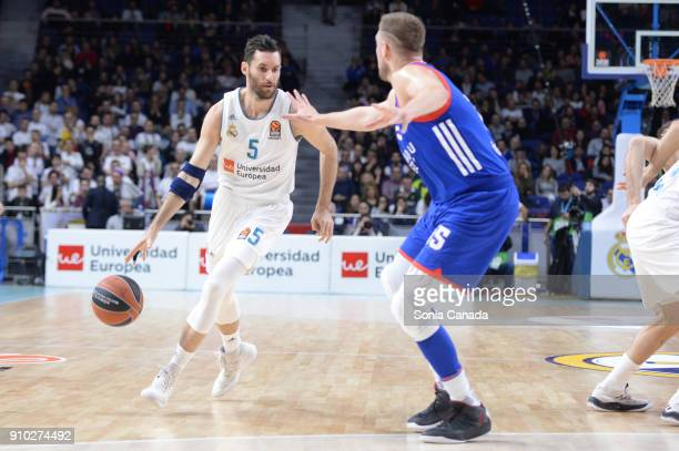 Rudy Fernandez #5 guard of Real Madrid during the 2017/2018 Turkish Airlines Euroleague Regular Season Round 20 game between Real Madrid v Anadolu...