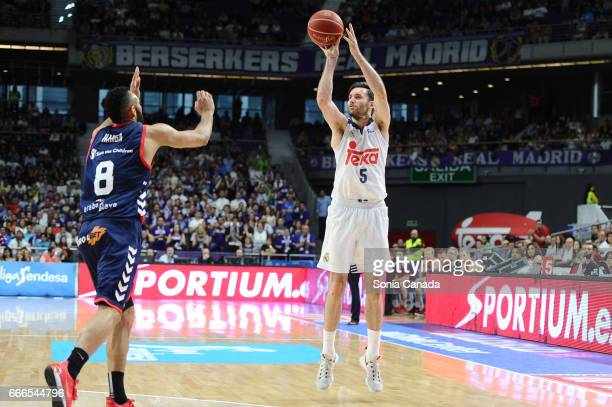 Rudy Fernandez #5 guard of Real Madrid during the Liga Endesa game between Real Madrid and Baskonia at Barclaycard Center on April 9 2017 in Madrid...
