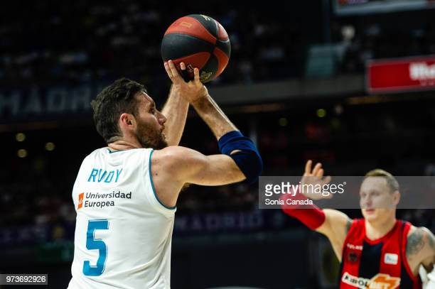Rudy Fernandez #5 guard of Real Madrid during the Liga Endesa game between Real Madrid and Kirolbet Baskonia at Wizink Center on June 13 2018 in...