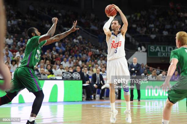 Rudy Fernandez #5 guard of Real Madrid during the Liga Endesa Semi Final game between Real Madrid and Unicaja Malaga at Barclaycard Center on May 31...