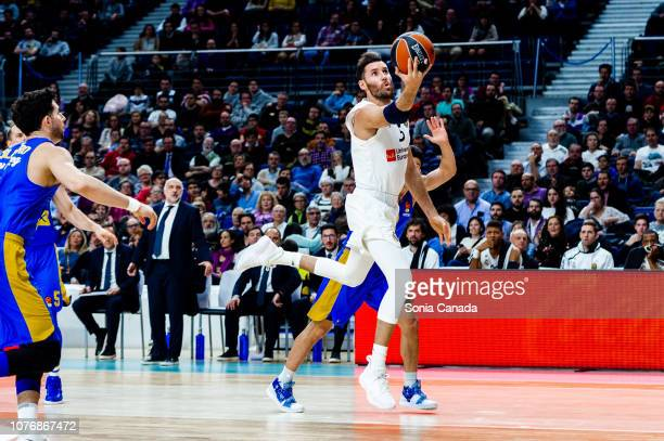 Rudy Fernandez #5 guard of Real Madrid in action during the 2018/2019 Turkish Airlines Euroleague Regular Season Round 16 game between Real Madrid...