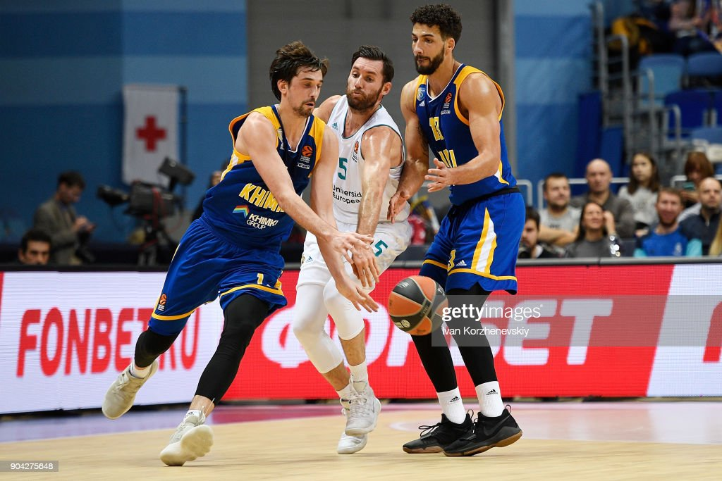 Rudy Fernandez, #5 of Real Madrid competes with Alexey Shved, #1 of Khimki Moscow Region and Anthony Gill, #13 of Khimki Moscow Region during the 2017/2018 Turkish Airlines EuroLeague Regular Season Round 17 game between Khimki Moscow Region and Real Madrid at Arena Mytishchi on January 12, 2018 in Moscow, Russia.