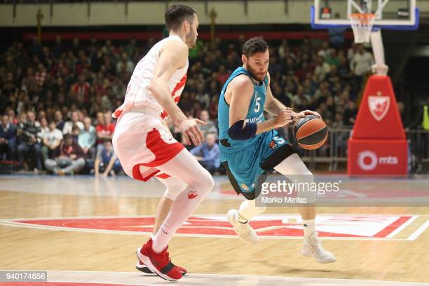 Rudy Fernandez #5 of Real Madrid competes with Stefan Jankovic #16 of Crvena Zvezda mts Belgrade during the 2017/2018 Turkish Airlines EuroLeague...