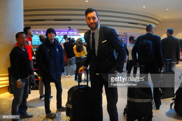 Rudy Fernandez #5 of Real Madrid during the Real Madrid arrival to participate of 2018 Turkish Airlines EuroLeague F4 at Hyatt Regency Hotel on May...