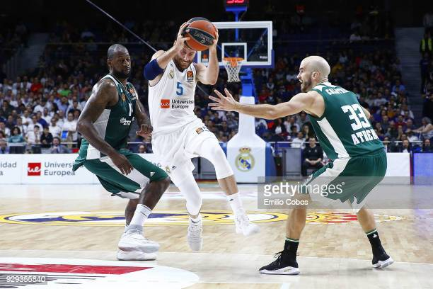 Rudy Fernandez #5 of Real Madrid in action during the 2017/2018 Turkish Airlines EuroLeague Regular Season Round 25 game between Real Madrid and...