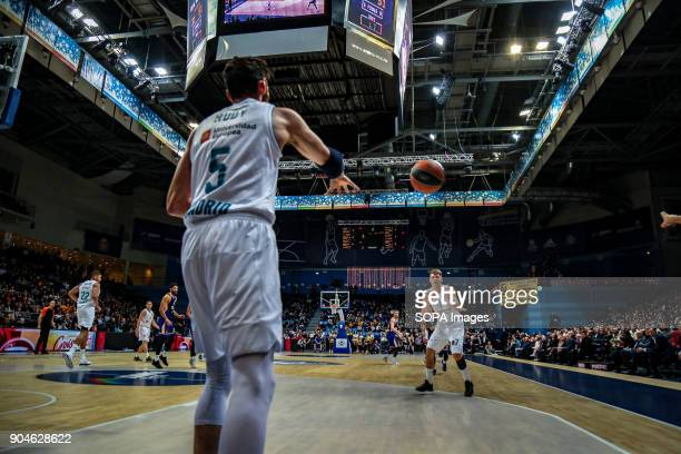 Rudy Fernandez #5 of Real Madrid inbounds the ball to teammate Luka Doncic #7 during the 2017/2018 Turkish Airlines EuroLeague Regular Season Round...