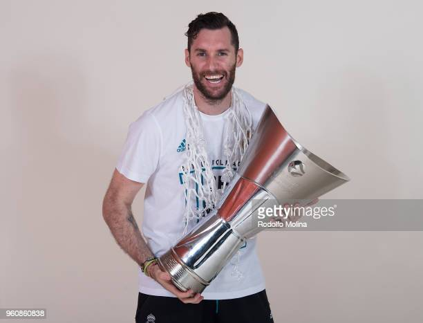 Rudy Fernandez #5 of Real Madrid poses 2018 Turkish Airlines EuroLeague F4 Champion Photo Session with Trophy at Stark Arena on May 20 2018 in...