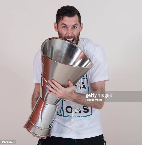 Rudy Fernandez #5 of Real Madrid poses during the 2018 Turkish Airlines EuroLeague F4 Champion Photo Session with Trophy at Stark Arena on May 20...