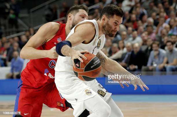 Rudy Fernandez of Real Madrid in action against Nikita Kurbanov of CSKA Moscow during Turkish Airlines Euroleague week 10 basketball match between...