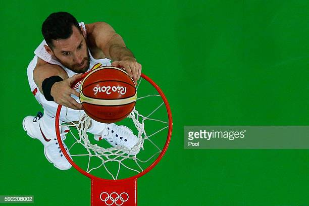 Rudy Fernandez of Spain dunks against the United States during the Men's Semifinal match on Day 14 of the Rio 2016 Olympic Games at Carioca Arena 1...