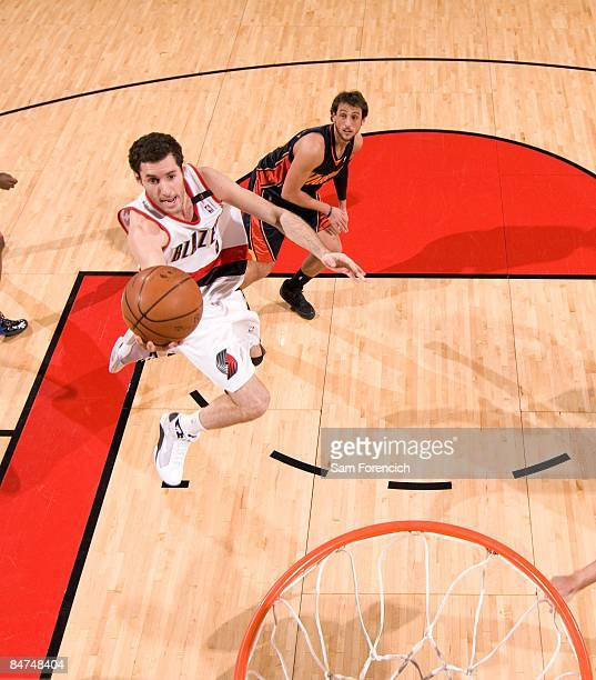 Rudy Fernandez of the Portland Trail Blazers lays up a shot during the game against the Golden State Warriors on January 10 2009 at the Rose Garden...