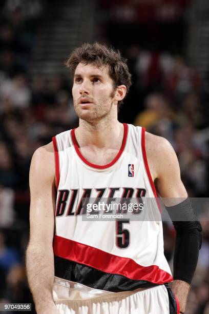Rudy Fernandez of the Portland Trail Blazers looks on during the game against the San Antonio Spurs at The Rose Garden on February 4 2010 in Portland...