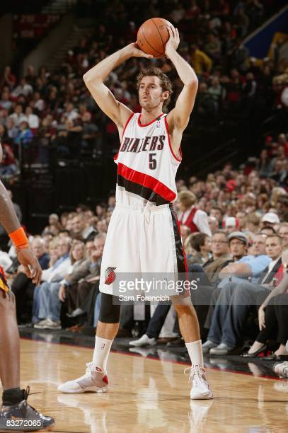 Rudy Fernandez of the Portland Trail Blazers looks to pass the ball during the preseason game against the Golden State Warriors on October 8 2008 at...