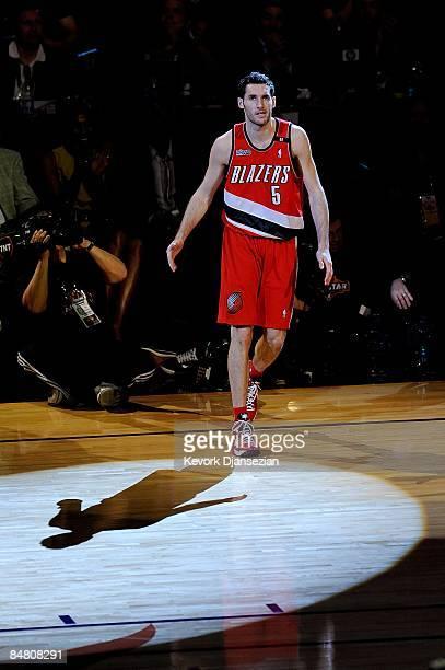 Rudy Fernandez of the Portland Trail Blazers participates in the Sprite Slam Dunk Contest on AllStar Saturday Night part of 2009 NBA AllStar Weekend...