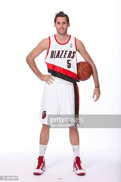 Rudy Fernandez of the Portland Trail Blazers poses for a portrait during 2009 NBA Media Day at The Rose Garden on September 28 2009 in Portland...