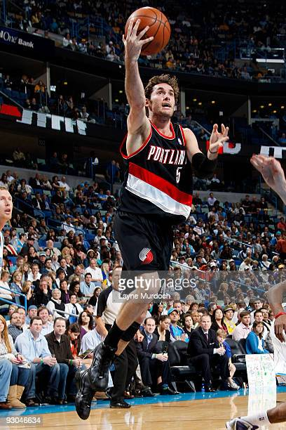 Rudy Fernandez of the Portland Trail Blazers shoots against the New Orleans Hornets on November 13 2009 at the New Orleans Arena in New Orleans...