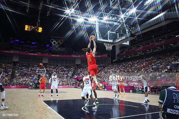 Rudy Fernandez Spain scores two points in action during the Men's Basketball Final between USA and Spain at the North Greenwich Arena during the...