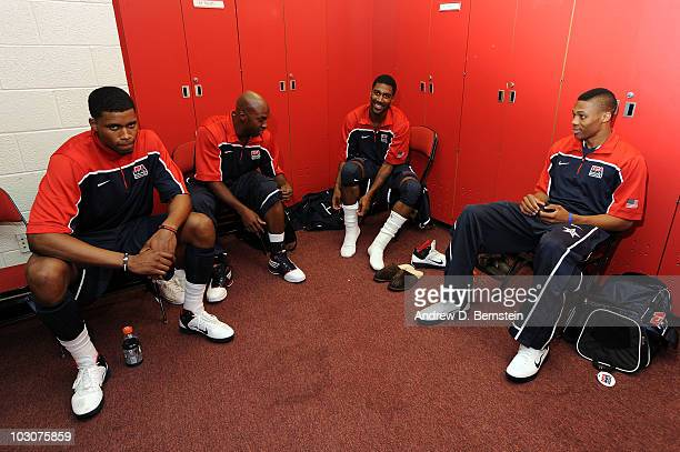 Rudy Gay Chauncey Billups OJ Mayo and Russell Westbrook of the 2010 USA Basketball Men's National Team in the locker room before the USA Basketball...