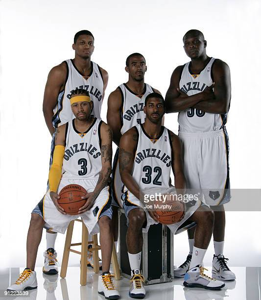 Rudy Gay Mike Conley Zach Randolph Allen Iverson and OJ Mayo of the Memphis Grizzlies pose for a portrait during NBA Media Day on September 28 2009...